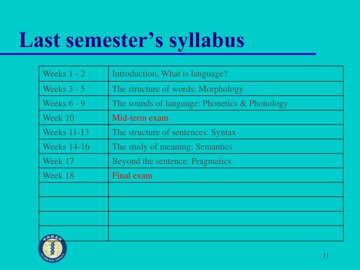 Last semester's syllabus