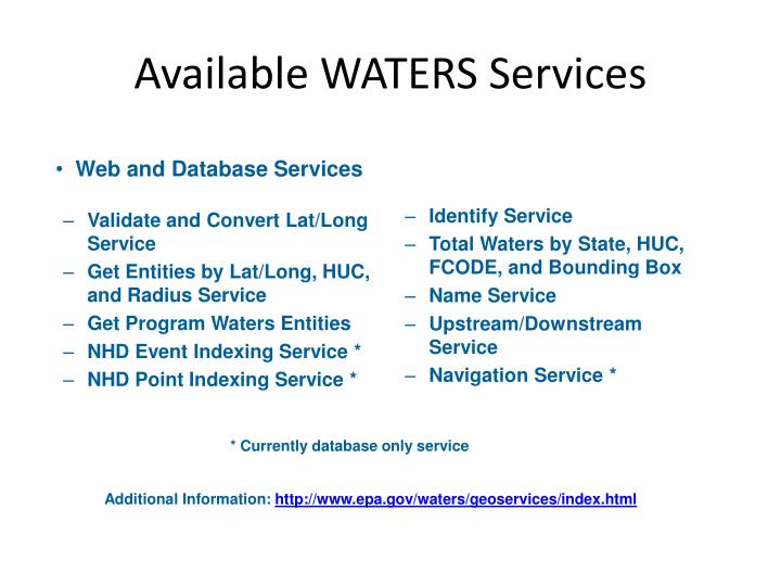 Available WATERS Services