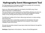 hydrography event management tool