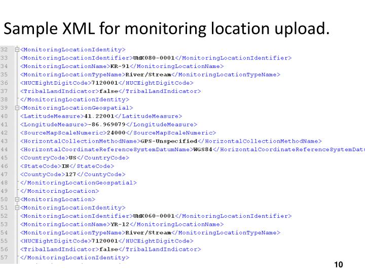 Sample XML for monitoring location upload.