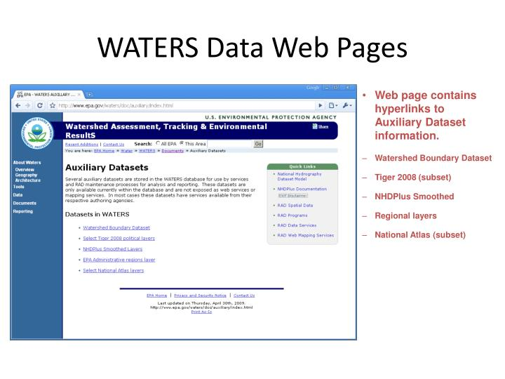 WATERS Data Web Pages