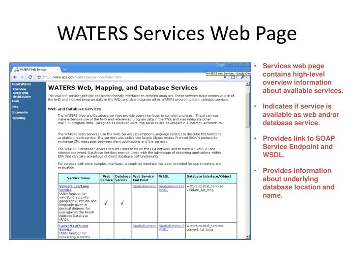 WATERS Services Web Page
