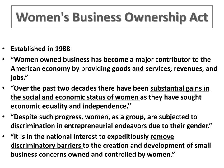 Women's Business Ownership