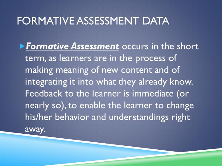 Formative Assessment Data