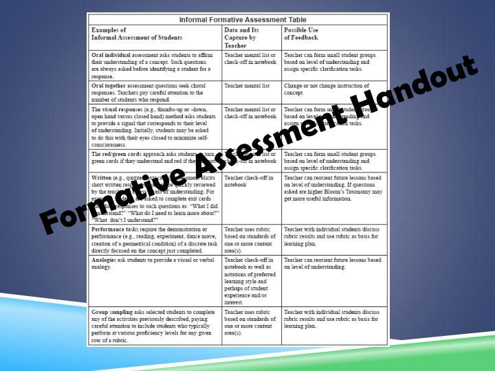 Formative Assessment Handout