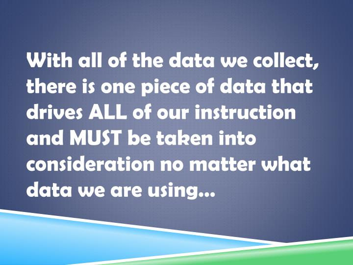 With all of the data we collect, there is one piece of data that drives ALL of our instruction and MUST be taken into consideration no matter what data we are using…