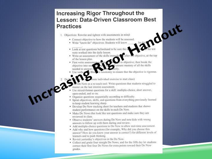 Increasing Rigor Handout