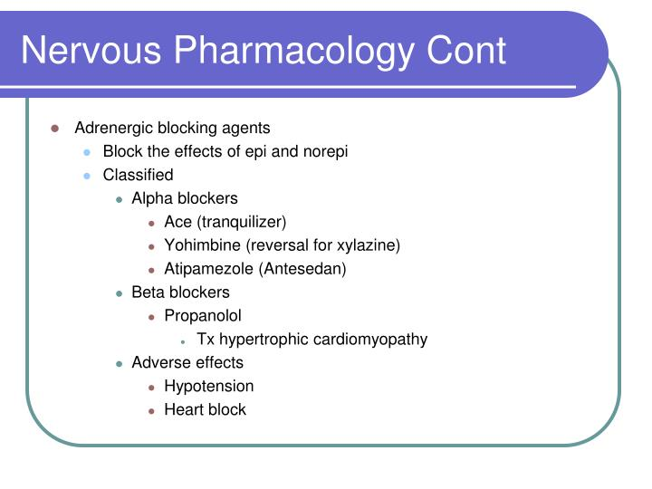 Nervous Pharmacology Cont