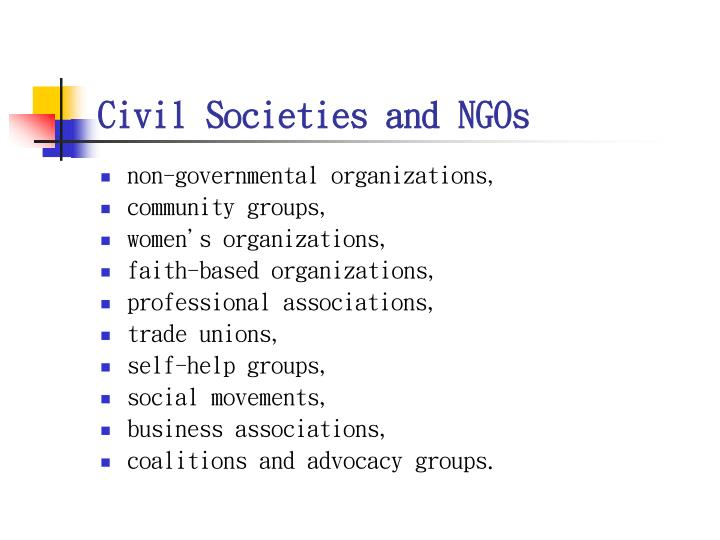 Civil Societies and NGOs