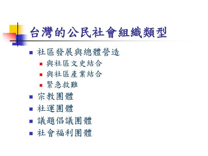 台灣的公民社會組織類型