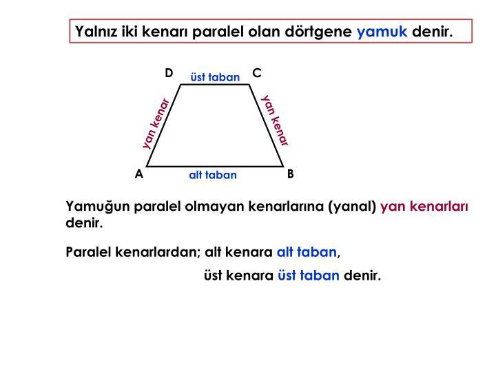 Yalnız iki kenarı paralel olan dörtgene