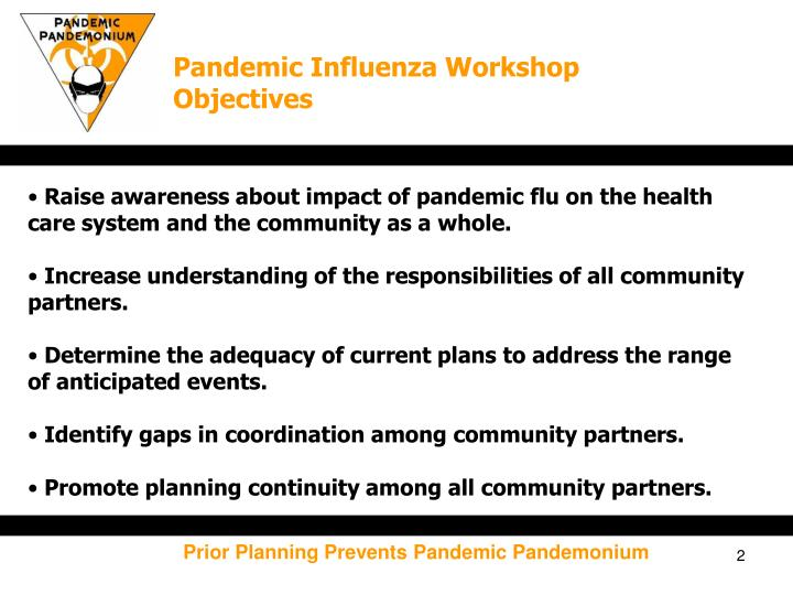 Pandemic Influenza Workshop Objectives