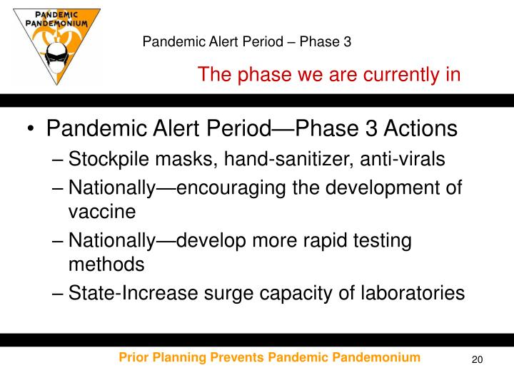 Pandemic Alert Period – Phase 3