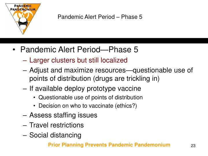 Pandemic Alert Period – Phase 5