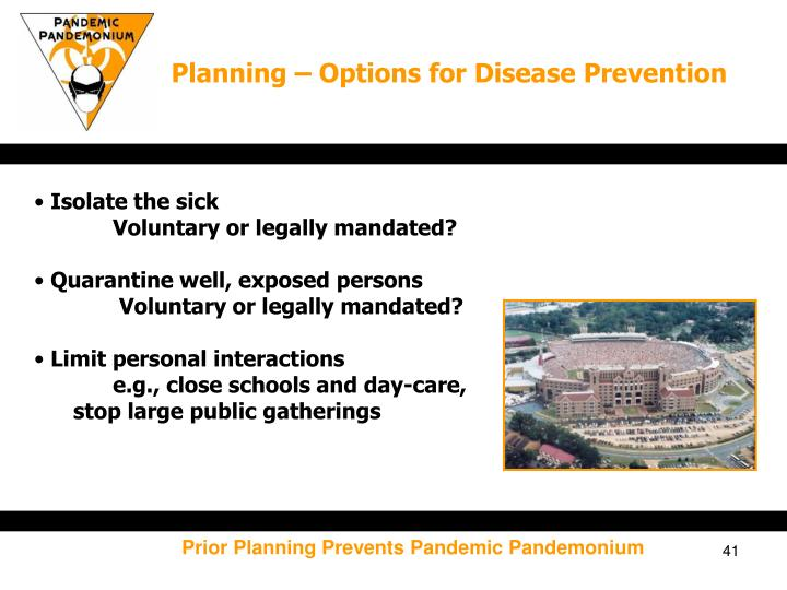 Planning – Options for Disease Prevention