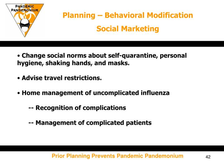 Planning – Behavioral Modification