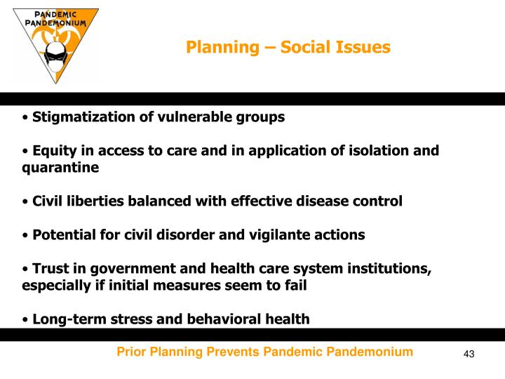 Planning – Social Issues
