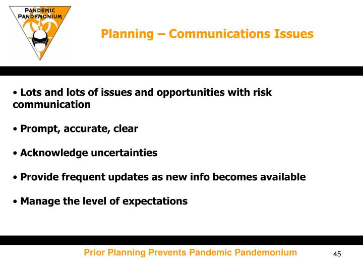 Planning – Communications Issues
