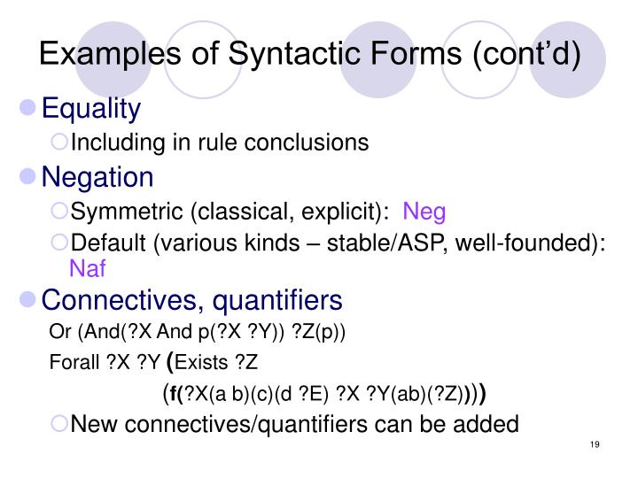 Examples of Syntactic Forms (cont'd)