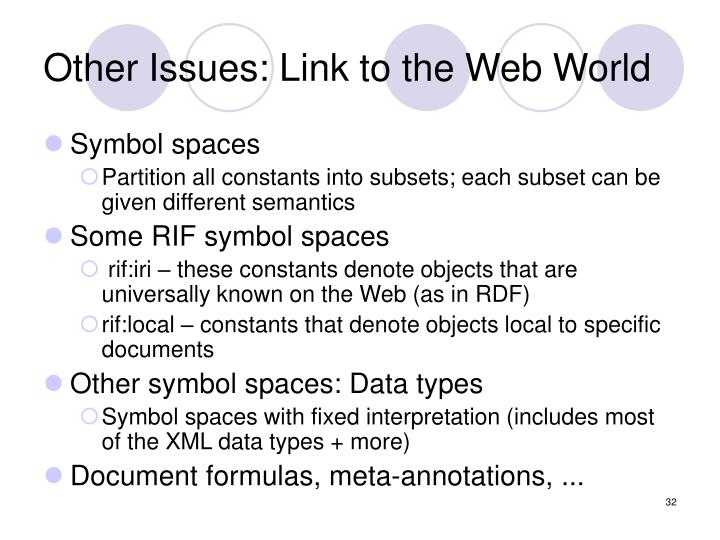 Other Issues: Link to the Web World