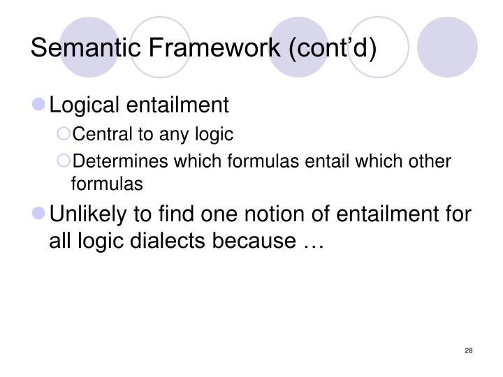 Semantic Framework (cont'd)