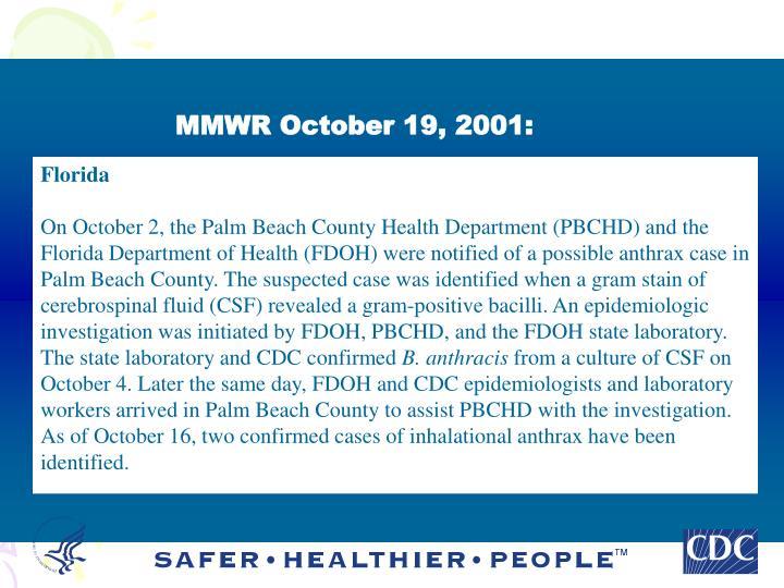 MMWR October 19, 2001:
