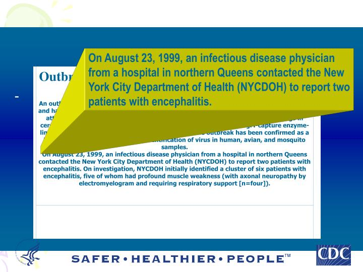 Outbreak of West Nile-Like Viral Encephalitis -- New York, 1999