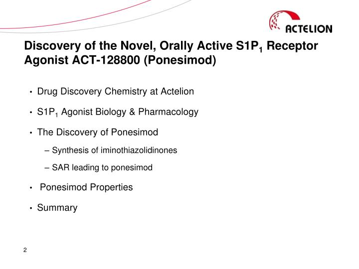 Discovery of the Novel, Orally Active S1P