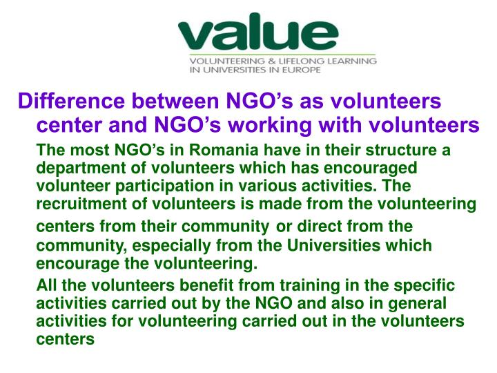 Difference between NGO's as volunteers center and NGO's working with volunteers