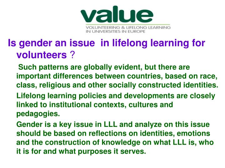 Is gender an issue  in lifelong learning for volunteers