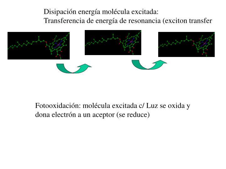Disipación energía molécula excitada: