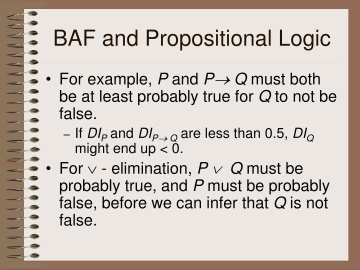 BAF and Propositional Logic