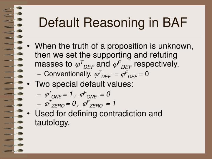 Default Reasoning in BAF