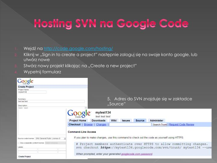 Hosting SVN na Google