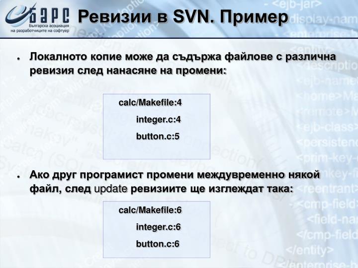 Ревизии в SVN. Пример