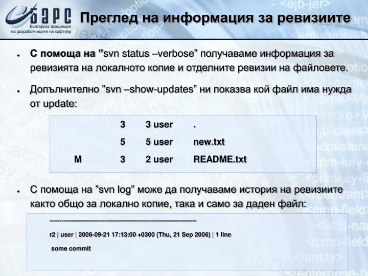 Преглед на информация за ревизиите