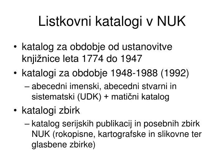 Listkovni katalogi v NUK