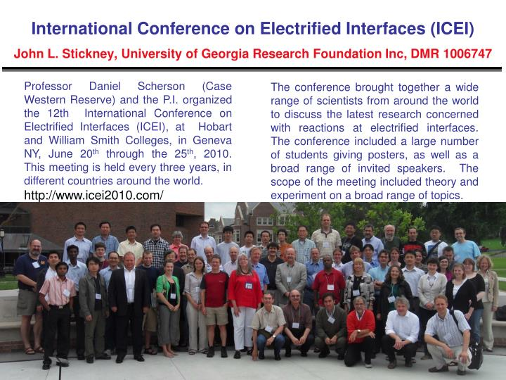 International Conference on Electrified Interfaces (ICEI)