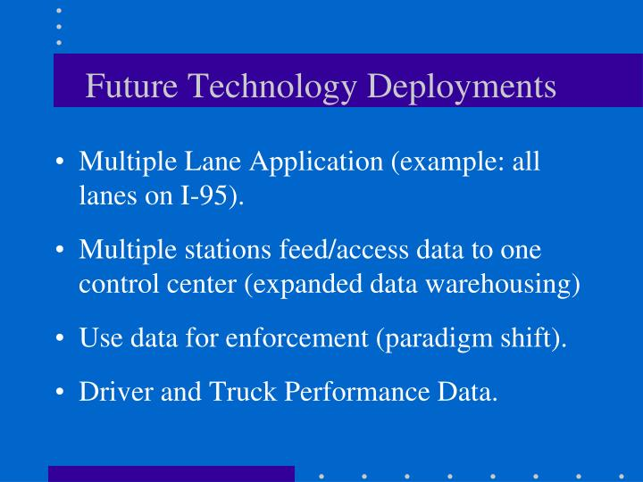 Future Technology Deployments