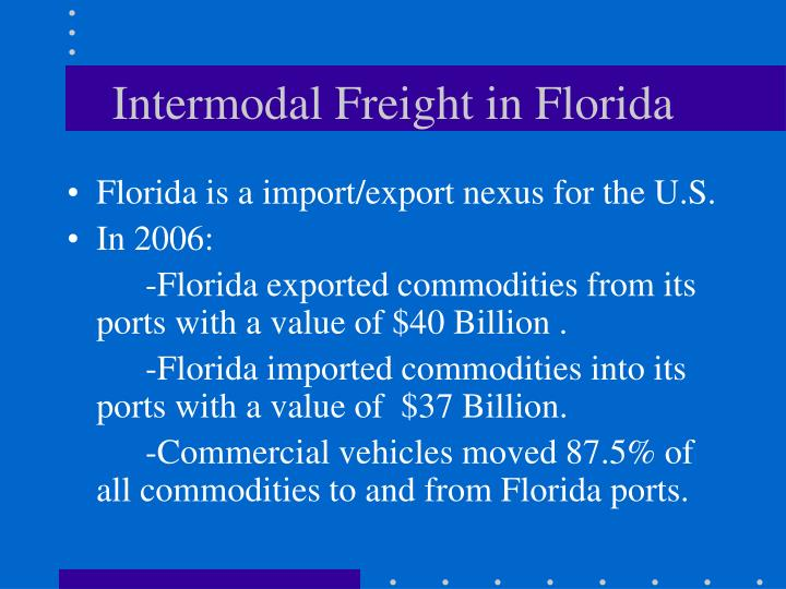 Intermodal freight in florida
