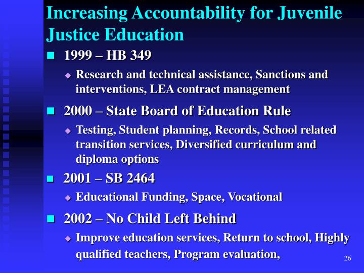 Increasing Accountability for Juvenile Justice Education