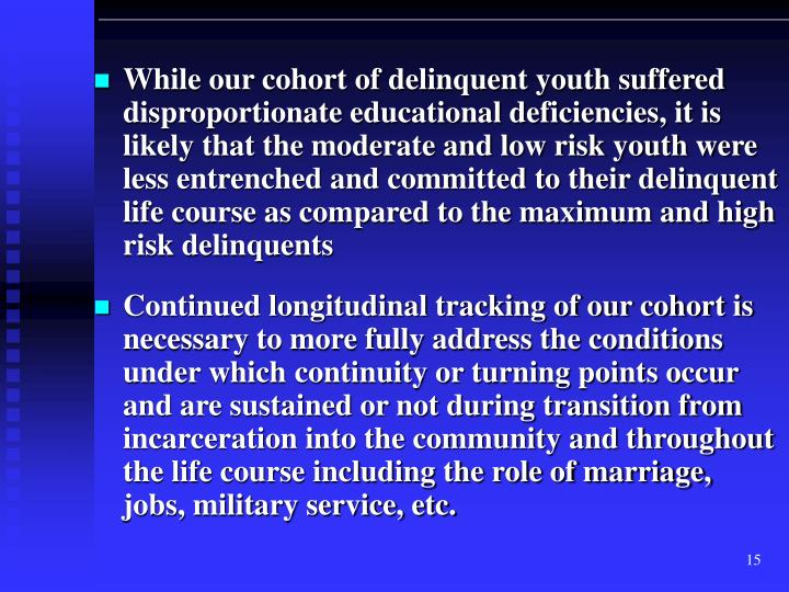 While our cohort of delinquent youth suffered disproportionate educational deficiencies, it is likely that the moderate and low risk youth were less entrenched and committed to their delinquent life course as compared to the maximum and high risk delinquents