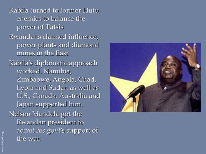 Kabila turned to former Hutu enemies to balance the power of Tutsis
