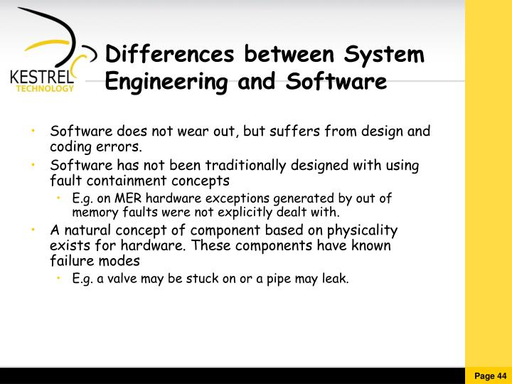 Differences between System Engineering and Software