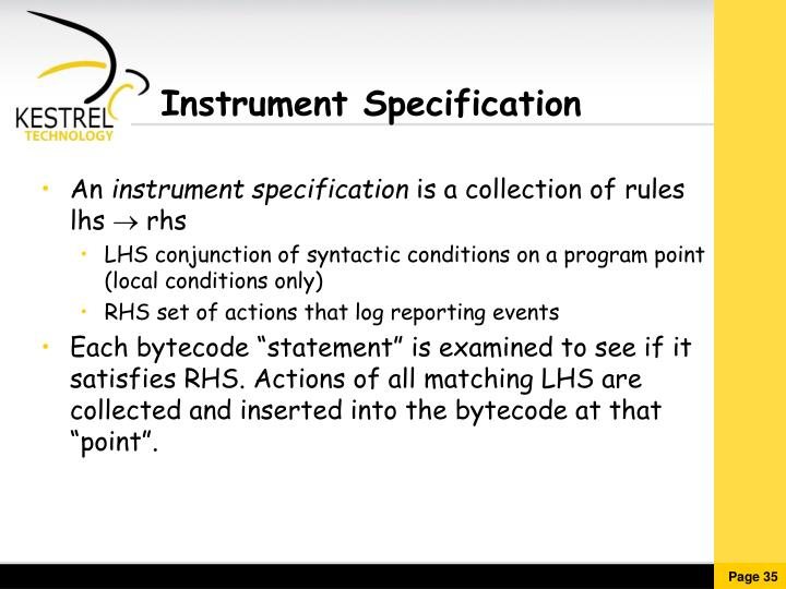 Instrument Specification