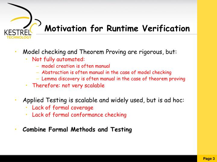 Motivation for runtime verification
