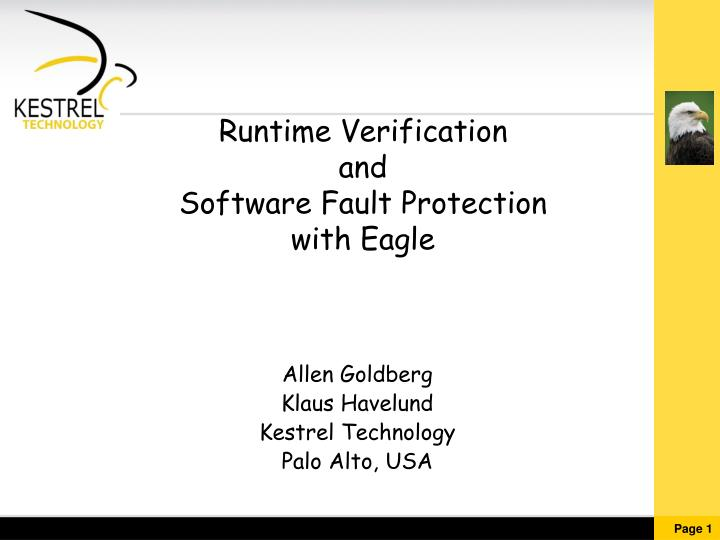 Runtime verification and software fault protection with eagle