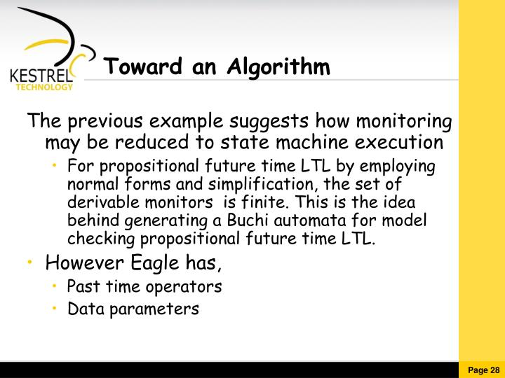 Toward an Algorithm