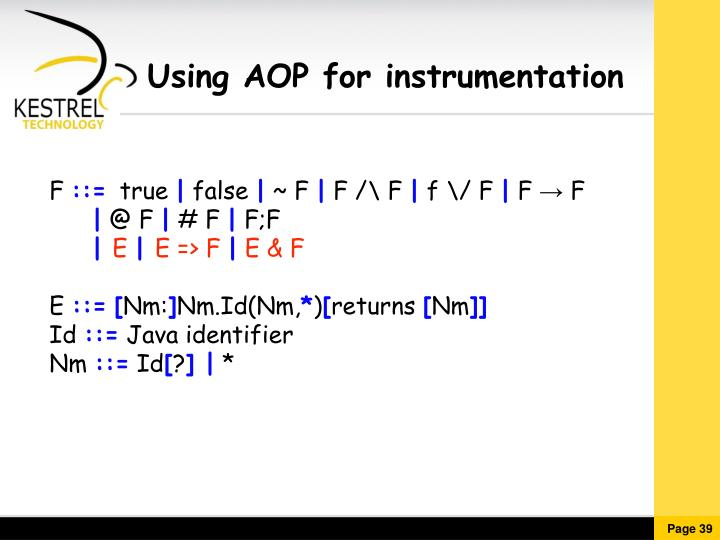 Using AOP for instrumentation