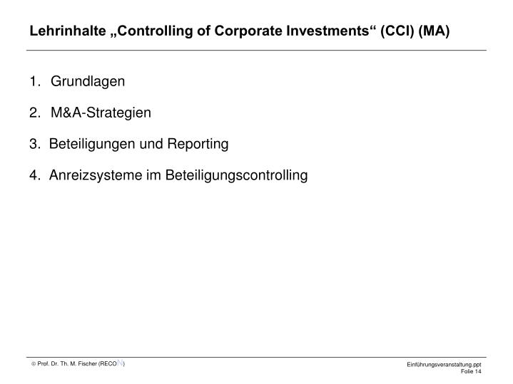 "Lehrinhalte ""Controlling of Corporate Investments"" (CCI) (MA)"